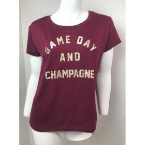 Express One Eleven Graphic Tee Maroon T Shirt XS